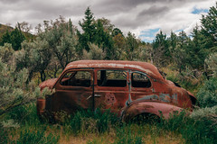 Left For Dead (Pedalhead'71) Tags: spray oregon unitedstates us richmond ghosttown abandoned car landscape