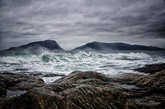 Stormy coast (Usstan) Tags: wind nikon 1685mm wideangle westcoast water costal sande mreogromsdal rough sunnmre winter clouds norway seasons locations drops ocean storm norge waves d7000 sky seascape nikkor landscape lens rocks