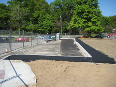 18 Expanded parking lot with first coat of blacktop (chelmsfordpubliclibrary) Tags: cpl chelmsford chelmsfordpubliclibrary chelmsfordlibrary greenway