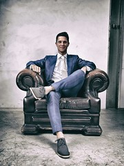 Teun (Lumperjack) Tags: teun claudia radioroyaal wedding eindhoven philips vintage portret jimvandermee fotografieaanzee stoel chair suit bleu sitting man cool flickrclickx