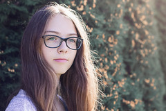 Soft sun (vaiva.sovaite) Tags: girl people cute lovely youth young teenager warm soft longhair brown green sunlight sunny portrait depth field outdoor 50mm