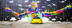 Monicas Vette with Rainbow Woman Mural in HDR Straight On copy (RoryMad Studios) Tags: hdr corvette chevrolet yellow murals shineproject shine stpetersburg florida