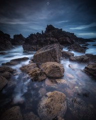 The Colour Purple (Augmented Reality Images (Getty Contributor)) Tags: canon clouds coastline cullen landscape leefilters longexposure morayshire morning rocks scotland seascape sunrise water waves