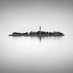 Lazzaro (Rohan Reilly Photography) Tags: venice venezia island isola church belltower trees italy italia lagoon square bw minimal long exposure