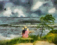 I heard the first wave of the rising tide(Henry Wadsworth Longfellow) (Nellie Vin) Tags: henrywadsworthlongfellow poem poetry inspiration photography prints sea waves birds seagull woman hat blue color tree atmosphere iheardthefirstwaveoftherisingsea nellievinphotography fineart