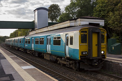 150284 at Llandaf, Cardiff (Dai Lygad) Tags: 150 150284 150229 arriva arrivatrains arrivatrainswales october 2016 llandaf llandaff cardiff station class150 dmu sprinter fourcarriage fourcar unit diesel train trains rail railway railways railroad railroads travel transport publictransport publictransit suburb suburbs suburban autumn wales uk platform dieselmultipleunit valleylines southwales stockphoto stockimage stockpicture photo image aberdaretocardiff aberdaretocardiffbay