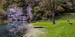 Spring of Krupa river (wider angle) (Uros_N) Tags: spring river krupa slovenija slovenia belakrajina semi whitecarniola p530 nikon coolpix water bench riverbank cliff rock karst