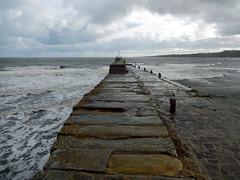 Raised part of St Andrews pier, 2016 Oct 23 (Dunnock_D) Tags: uk unitedkingdom britain scotland fife standrews grey cloud cloudy sky northsea sea waves pier