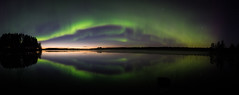 Aurora panorama (lindblomlinus) Tags: aurora auroraborealis norrsken nordlys northernlights borealis green sky astrophotography astroscape astro nightsky skyglory skylovers lake reflection panorama pano sunset reflect mirror september night nightphotography pentax samyang fisheye