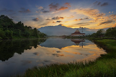 Darul Al-Quran Mosque (Adly Wook) Tags: malaysia mosque mountains mountians outdoor ocean oversea longexposure composition tone art asian awesome landscape atmosphere canon nature wallpaper water natural lake sky serene sunrise travel trip texture explore explored exposure red beautiful