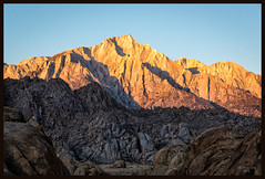 Dawn on Lone Pine Peak (jk walser) Tags: alabamahills california d800e dawn highsierraworkshops jkwalser lonepinepeak sierramountains workshop rocks sunrise