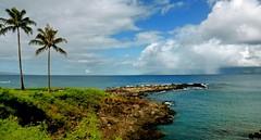 Molokai cloudburst from Maui (Debangsu) Tags: molokai kapalua bay maui hawaii cloud cloudburst rain storm lush green sea ocean seaside landscape seascape pacific igneous rock aloha trees