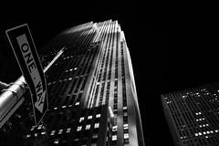 One Way (.Alejandro_Vega) Tags: bw usa newyork building blancoynegro blackwhite downtown manhattan edificio rockefellercenter bn topoftherock nuevayork rockefellerplaza eeuu