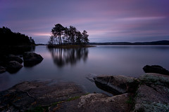 reflection (Andreas Lf) Tags: longexposure sunset lake water reflections landscape island rocks silent sweden tripod nopeople le bluehour scandinavia tranquil sigma1020mm calmwater lakescape nordics jrnlunden hackelbo rimforsa lightcraftworkshopnd500 sonyalphaslta77