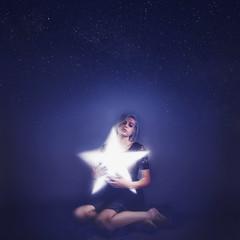 Celestial Body (Talaina Fisher) Tags: blue light portrait sky night self dark stars star glowing