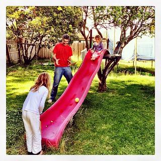 365/324 • a spot of morning slide cricket before the heat kicked in • #2014_ig_324 #backyard #family #4yo #6yo #M #omgwearealltogether #weekend