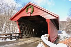 Newfield Covered Bridge (littchick) Tags: bridge red snow nikon sunny wideangle covered inuse d7100 diamondwindows