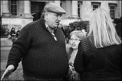 Trafalgar Square (jonron239) Tags: boy woman man london sweater expression trafalgarsquare nationalgallery cap geezer