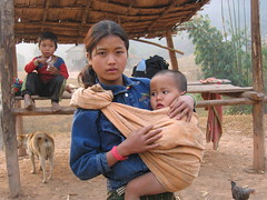 Young Mother and Child Luang Namtha Province Laos