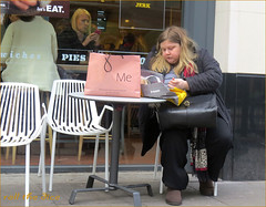 `1294 (roll the dice) Tags: uk portrait england urban food man reflection sexy london art classic window glass fashion shopping lunch words salad funny pretty sad candid fat large streetphotography stranger knightsbridge eat unknown diet mad unaware brompton londonist sw7