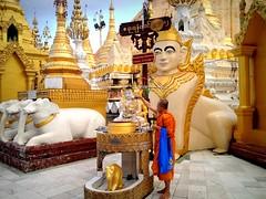 Shwedagon Pagoda, Yangon (PeterCH51) Tags: building wednesday religious gold golden pagoda afternoon post shwedagon yangon burma buddhist religion culture statues monk myanmar burmese sculptures shwedagonpagoda rangoon iphone goldenpagoda rangun peterch51