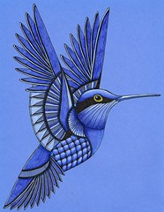 Hummingbird (Amaryllis Creations) Tags: hummingbird coloredpencil penink