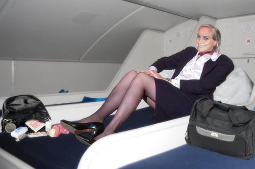 Candid flight attendant upskirt
