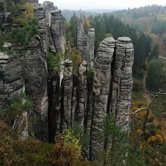 Sandstone columns 2 - Cesky Raj, Czech Republic ( V ) Tags: autumn fall nature trekking nationalpark sandstone hiking trail naturereserve czechrepublic geology bohemia czechparadise ceskyraj csehorszg