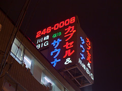 Neon signs at night (DigiPub) Tags: building rooftop lodging neonsign capsulehotel sauna kawasaki        m20150311