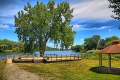 Mohawk River Landscape (hbickel) Tags: trees dock gazebo bridge sky clouds canont6i canon photoaday pad highdynamicrange hdr landscape