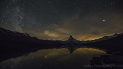 Stellisee at Night (vladimir.vozdvizhenskiy) Tags: nightphotography lake reflection night canon stars landscape switzerland suisse outdoor astrophotography zermatt matterhorn milkyway cervin stellisee