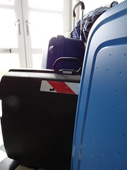 Time to go... (stevenbrandist) Tags: family blue holiday black luggage suitcase frontdoor samsonite