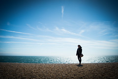 Earth 2016. (NVOXVII) Tags: silhouette seafront coast art vignette figure backlit contrast blue atmosphere nikon seascape sky planetearth minimal