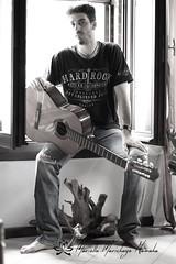 guitarist (Namast Mari) Tags: guitarist chitarrista guitar chitarra interno luce bianco e nero black white inside music musica doy ragazzo uomo man boyfriend fidanzato love amore dedica window finestra jeans hard rock t shirt