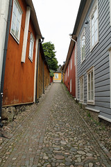 Old street and buildings in Porvoo Finland (David Russell UK) Tags: porvoo finland street road stone stones cobble cobbles house building houses buildings wood board travel history historic outdoor structure architecture