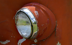 Wink (BKHagar *Kim*) Tags: light red glass metal truck vintage al rust peeling paint alabama rusty madison headlight fireengine anqtique limestonefleamarket bkhagar burgreenrd