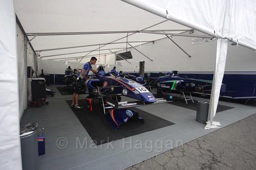 Petru Florescu's garage in British Formula Four in BTCC Knockhill Weekend 2016