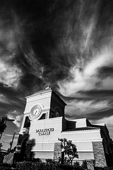 Sky and clouds through the Konica UC fisheye (zz ma) Tags: konica ar uc 15mmf28 fisheye sony a6000 mirrorless fisheyelens manual mf california sandiego outdoor sky clouds beforesunset evening blackandwhite bw infrared manualfocus mall plaza parking lot konicauc hexagon15mmf28 konicahexagon hexagon hexagonfisheye konica15mmf28