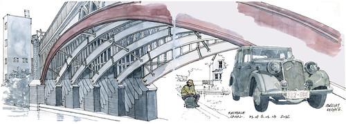 Manchester, pont biais (gerard michel) Tags: symposium urbansketchers manchester pont auto ancêtre lapin sketch croquis aquarelle watercolour