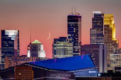 Pink Sky Over Minneapolis (Greg Lundgren Photography) Tags: moon crescent minneapolis skyline urban night sky usbankstadium twincities cityscape ids capella sunset pink