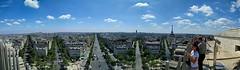 Panorama - Arc de Triomphe (tokyobogue) Tags: paris france panorama phone city cityscape wide arcdetriomphe champselysee boulevards street nexus nexus6p eiffeltower