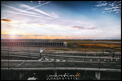 Sundown at BER - Airport (Krueger_Martin) Tags: canon berlin brandenburg ber airport flughafen schnefeld weitwinkel wideangle ultraweitwinkel sigma sigma1224mmexdghsm street strase sundown sonnenuntergang sky himmel wolken clouds colorful bunt farbig stadt city urban skyline horizont fernsehturm gelb yellow blau blue