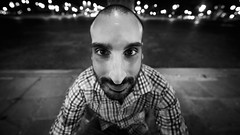 Small is not always cute (Louis Lefranc) Tags: big nose small cute portrait portraiture paris man france handsome night uga samyang 14mm strange weird ultrawide angle different black white canon 6d friends shooting