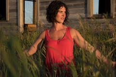 Tahlia (austinspace) Tags: woman portrait spokane washington oakesdale palouse brunette dress lingerie abandoned house sunset dusk magichour summer prairie windmills grass actress