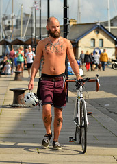 Clive (alderney boy) Tags: plymouth barbican cyclist mumanddad tattoo clive