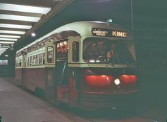 TTC 4395 at Broadview Station, Toronto, August 25, 1970 (railfan 44) Tags: toronto ttc transit streetcar pcc