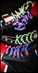 Laces of Dr Marten multi colour. (CWhatPhotos) Tags: pictures uk original light red usa man men feet leather yellow america that cherry stars jack photography boot foot photo foto with hole boots photos dr stripes union picture 8 style wear have congress mans doctor american footwear fotos worn mens stitching z comfort sole doc limited edition gress cushion marten which soles dm con docs contain compare drmartens bouncing airwair docmartens welt martens dms 1460 drmarten vdm cushioned verus bouncingsoles 1460s yellowstitching cwhatphotos vdmsole
