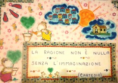 La ragione non è nulla senza l'immaginazione. (ALFABETI PERDUTI: fili che raccontano storie...) Tags: immaginazione sogni stoffe ragione quadretto aforisma obiettivi cartesio socità