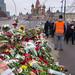 Flowers laid down at the Moskvoretskij bridge in Moscow, where Boris Nemtsov were shot and killed