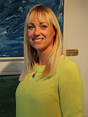 Inga the Gallery Owner (Raphooey) Tags: uk blue england woman southwest west art girl beautiful modern canon painting eos eyes paint cornwall gallery south north modernism blonde gb 55 falmouth 70d